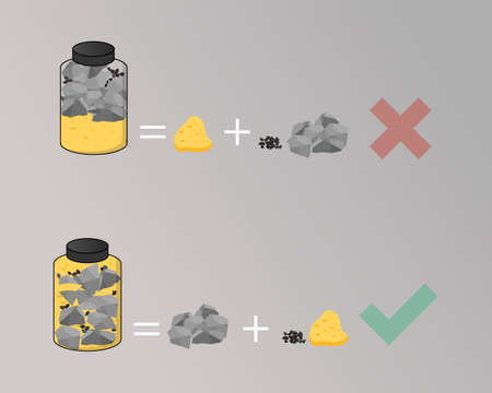The Rocks, Pebbles, and Sand to prioritize important things in your life vector