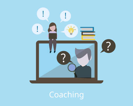 coaching employee and how it works to help employee learn vector