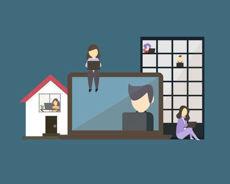 hybrid workplace with employees working from both office and home vector Vector Illustration