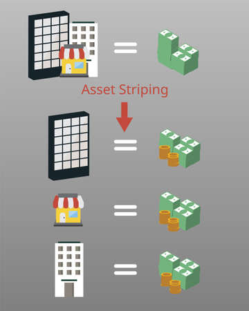 Asset stripping is the process of buying an undervalued company with the intent of selling off its assets to generate a profit for shareholders. The individual assets may be more valuable than the com Vetores