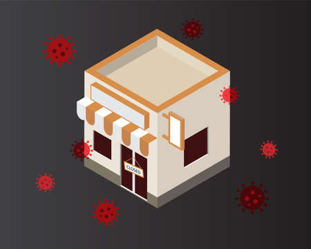 business owner have to close down business due to covid-19 pandemic situation Illustration
