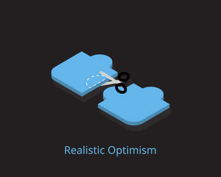 Realistic optimism involves hoping for a positive outcome by setting achievable goals and working towards desired outcomes Illustration