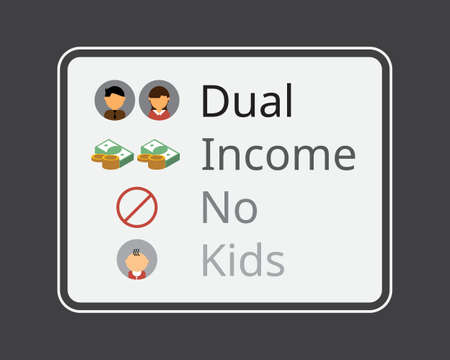 DINK or dual income no kids as married couple want no child Illustration