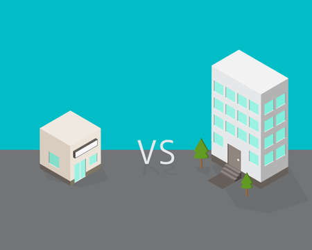small company compare to large company to show the different and which one you prefer Illustration