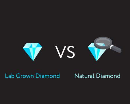 lab grown diamond compare with natural diamond Illustration