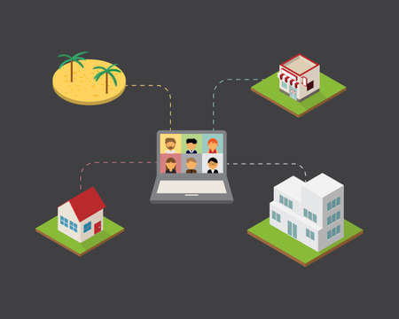 hybrid workplace with employees working from home or work from office or work from the beach or sea vector Illustration