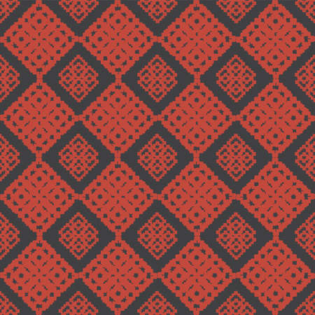 antique geometric red flower seamless background for fabric