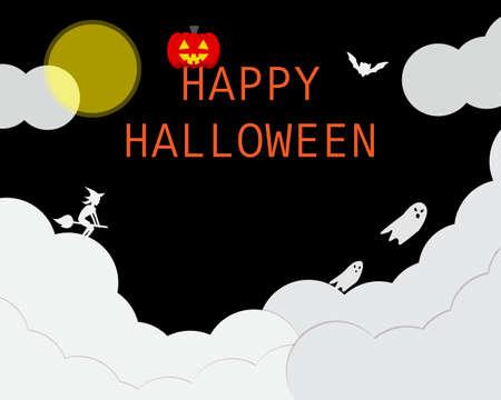 happy Halloween day banner with night theme of pumpkin in dark night mode Illustration