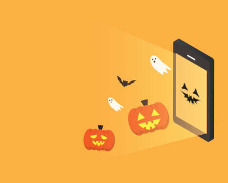 happy Halloween day banner with smartphone of pumpkin come out Illustration