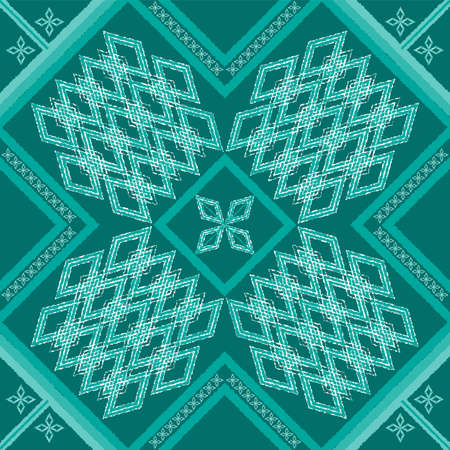 antique geometric green seamless in dark green background for fabric Illustration