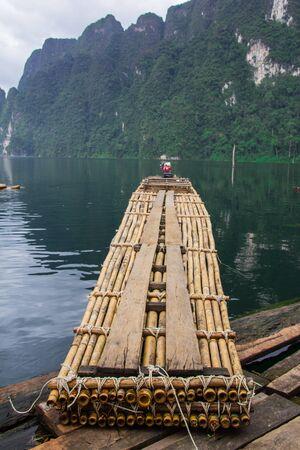 raft: The bamboo raft trip on the lake. Stock Photo