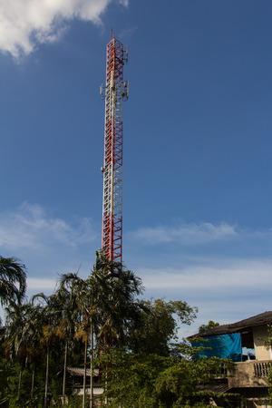 telephone pole: Distribution telephone pole and the blue sky.