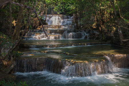 khamin: Huai Mae Khamin Waterfal Located at Kanchanaburi, Thailand Stock Photo