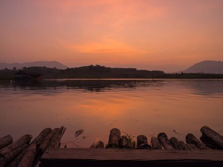Lake and mountain at twilight. 版權商用圖片