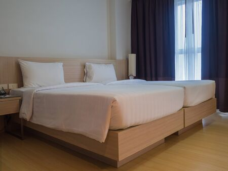Interior of a hotel bedroom.