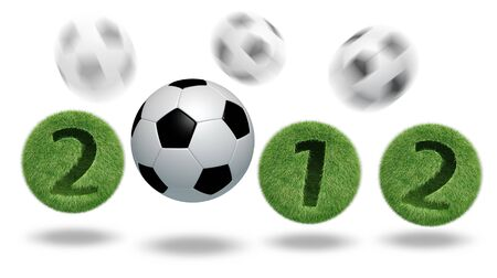 3D soccer and football 2012 Stock Photo