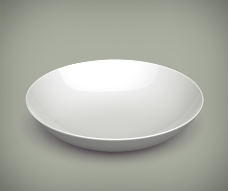 White Sphere Dish plate on gray background. Isolated 3d model  photo