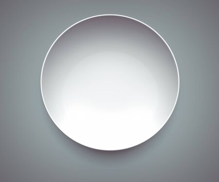 White Sphere Dish plate on gray background. Isolated 3d model
