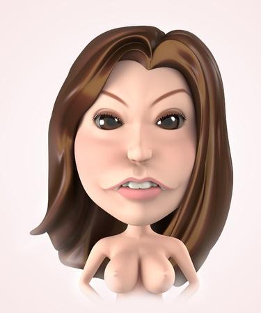 charactor: 3D Portrait cute girl nude