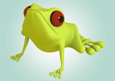 3D Green frog red eye on background photo
