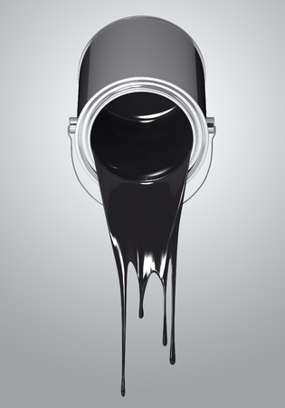 3D Chrome paint can fall black colors photo