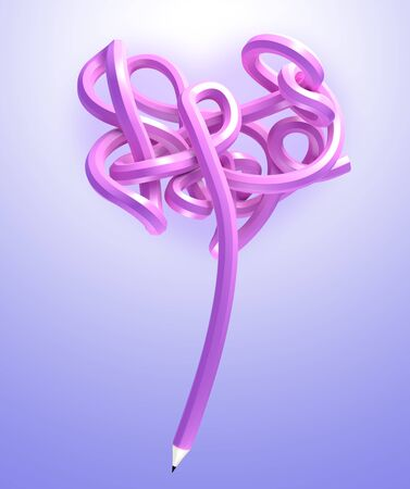 3D Creative Bending form Heart of purple pencil Stock Photo