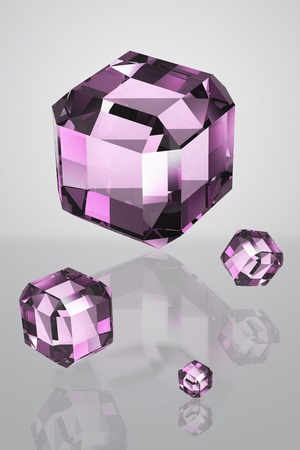 4 purple Crystal fall on a white background isolated model 3d  photo
