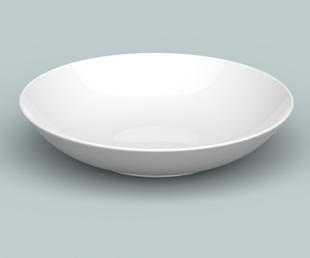 White Sphere Dish plate side view on white background. Isolated 3d model  photo
