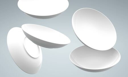 White Sphere Dish plate fall and Spread on white background. Isolated 3d model  photo