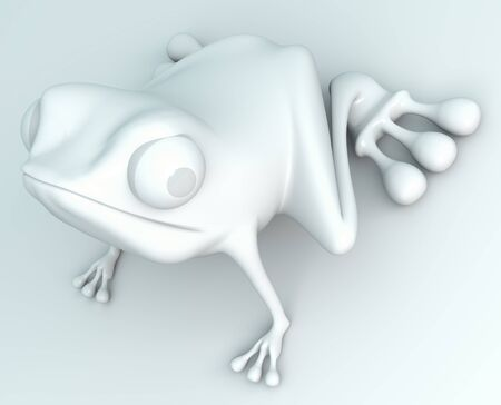 Stock Photo: white frog on white background. Isolated 3d model photo