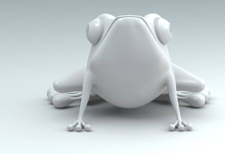 front view white frog on white background. Isolated 3d model  photo