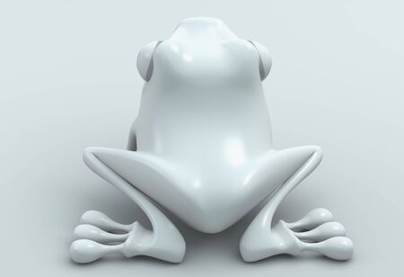 back view white frog on white background. Isolated 3d model  photo