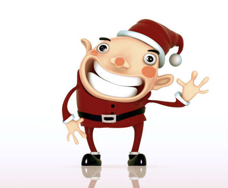 say hello: Santa Claus cartoon say hello illustration model on on a white background. Isolated 3d model  Stock Photo