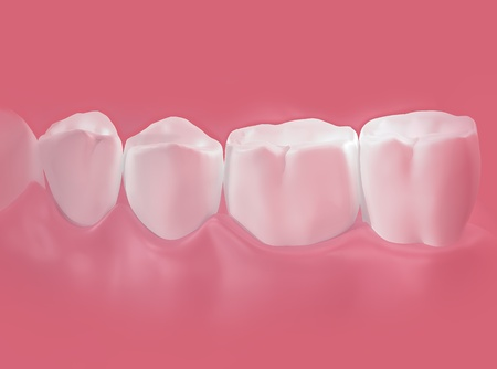 teeth close up on pink background. Isolated 3d model  Stock Photo