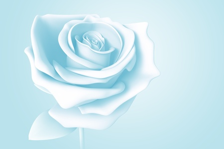 light blue rose pastel colors isolated model 3d on background photo