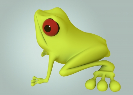 green frog red eye side view on green background. Isolated 3d model photo