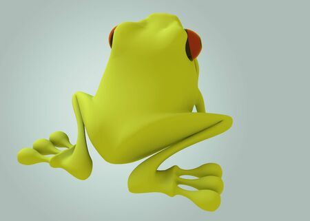 green frog red eye back view on green background. Isolated 3d model photo