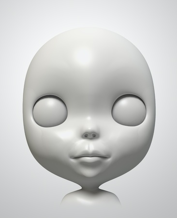 face of blythe on white background. Isolated 3d model photo
