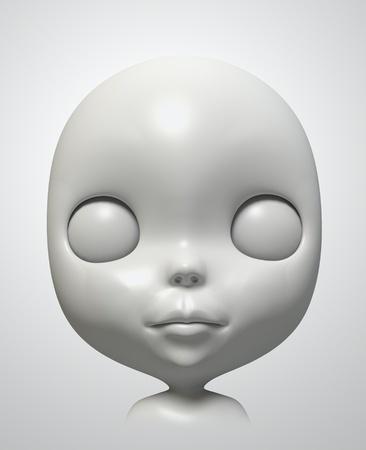gezicht van Blythe op witte achtergrond. Geà ¯ soleerde 3D-model