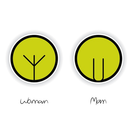 pee: Women and Men Toilet Sign Illustration