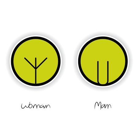 a restroom: Women and Men Toilet Sign Illustration