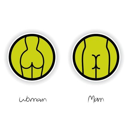 pis: Las mujeres y los hombres signo WC