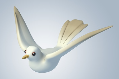 white Pigeon dove.model 3D Isolated on blue background. Bird's Eye View Stock Photo - 11886414