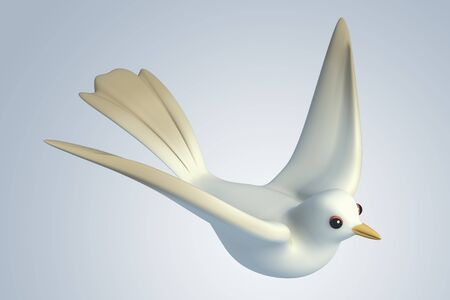white Pigeon dove.model 3D Isolated on blue background. Bird's Eye View photo