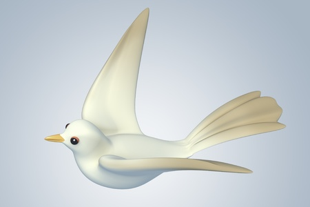 migrating: white Pigeon dove.model 3D Isolated on blue background. Birds Eye View