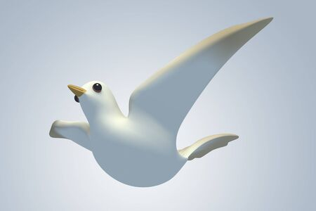 white Pigeon dove.model 3D Isolated on blue background. Ants Eye View photo