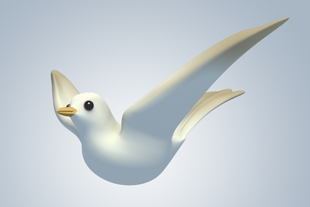 turtle dove: white Pigeon dove.model 3D Isolated on blue background. side view