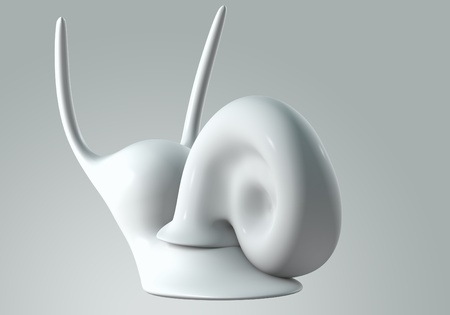 white Snail model 3D Isolated on gray background. back view photo