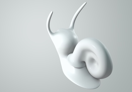 white Snail model 3D Isolated on gray background. Bird's Eye View Stock Photo - 11886395