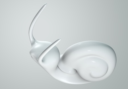 white Snail model 3D Isolated on gray background. Bird's Eye View photo